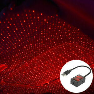 Red Voice Control Car USB Interior Roof LED Star Light Atmosphere Auto Rotating