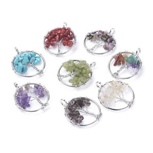 10pcs 29mm Tree of Life Natural Synthetic Mixed Stone Pendants Flat Round Charms