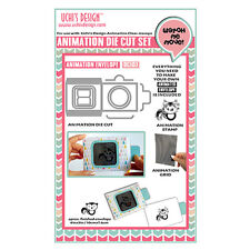 Uchi's Design Cat Envelope Animation Die Cut Kit Dc103 - Die +Stamp + Grid