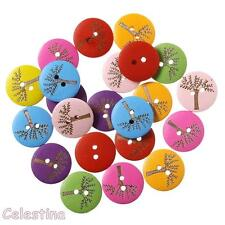 12 Round Tree Design Wooden Buttons 20mm Mixed Colours - Painted Wood Trees