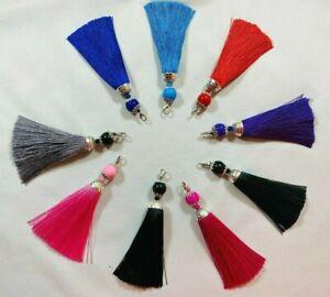 A Women Silky Tassel Bag Charm Key Chain Ring Handbag Charm 11cm,  Cushion Craft