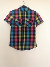 NEW LOOK Men's casual check pattern shirt. Size XS. Festival multi coloured.