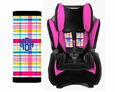 Personalized Baby Toddler Car Seat Strap Covers Multi Color Plaid Flannel