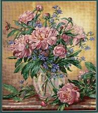Counted Cross Stitch Kit PEONIES & CANTERBURY BELLS Dimensions Gold Collection