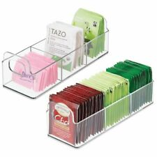 mDesign Plastic Kitchen Tea Bag Organizer Storage Caddy Holder, 2 Pack - Clear
