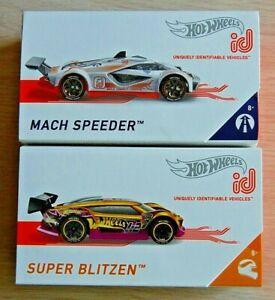 2-2019 Hot Wheels ID gold SUPER BLITZEN+MACH SPEEDER HW Race Team Moving Forward