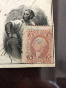 American Banknote Printed 1869 Check With Hand Canceled Revenue Stamp