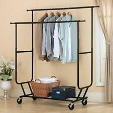 Commercial Heavy Duty Clothing Garment Rack Rolling Scalable Rod Double Hanger