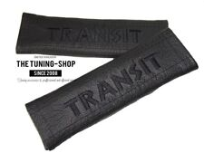 "2x Seat Belt Covers Pads Leather ""Transit "" Black Embroidery for Ford"
