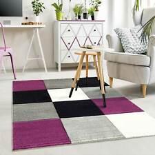Moderner Teppich Kariert Hoch Tief Strukturen Lila Grau Weiß Schwarz