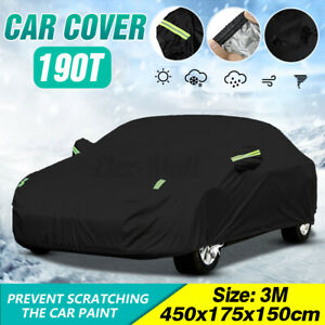 Waterproof Sedan Full Car Cover Breathable Sun UV Rain Snow Dust Resistant Black