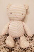 """Baby Aspen Knit Teddy Bear Plush 15"""" Stuffed Toy Lovey Stripe Rattle"""