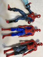 "Lot of 3 Hasbro Marvel Spiderman 11"" Action Figure Plastic Posable"