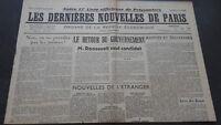 JOURNAUX LES DERNIERES NOUVELLES DE PARIS N°30 JUILLET 1940 ABE