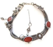 vintage Yemen silver agate stone Bedouin Headdress Ornaments necklace