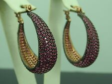 Turkish Handmade Jewelry 925 Sterling Silver Ruby Stone Ladies' Earring