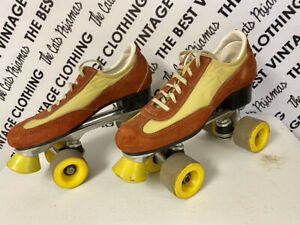 VTG Roller Skates 9 Disco Orange Yellow Wheels Derby 70s Original TikTok Retro