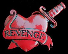 REVENGE BELT BUCKLE HEART PIERCED BY KNIFE NEW US MADE