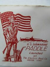 Scarce Patriotic WWII SUBMARINE LAUNCHING ENVELOPE, Navy, Electric Boat PADDLE