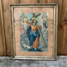 More details for vintage gilt framed religious christian lithograph jesus carrying cross crucifix