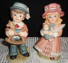"Victorian Boy & Girl Figurines Homco #1419 Ceramic 6"""
