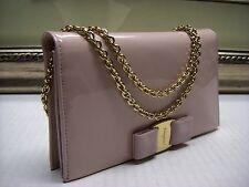 Authentic Salvatore Ferragamo Miss Vara Patent Leather Mini Bow Bag $695