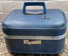 Vintage 1960's JC Penny Blue Hard Overnight Train Case Makeup Case Cosmetics Key