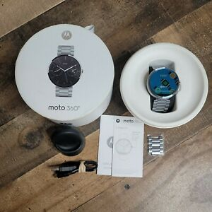 Moto 360 Silver Smart Watch 1st Gen with Silver Band 100% Working Condition