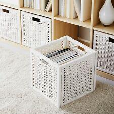 "IKEA BRANAS Basket White Rattan 12.5"" x 12.5"" x 13.5"" Foldable Woven NEW!"