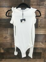 New Pretty Little Thing Women's White Ruffle Cold Shoulder Body Suit Size 2
