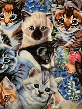 Kittens Fabric Fat Quarter Cat Flowers Siamese Himalayan Angora Tiger Fabric