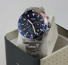 NEW AUTHENTIC FOSSIL CREWMASTER SPORT CHRONOGRAPH SILVER BLUE MEN'S CH3059 WATCH