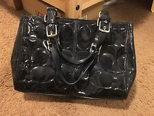 COACH Black Patent Leather Handbag Signature Embossed Shoulder Purse
