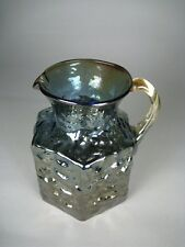 Pitcher Carnival Glass Pilgrim Pebble Nugget Size 4.5 inches Blue Amber Pontil