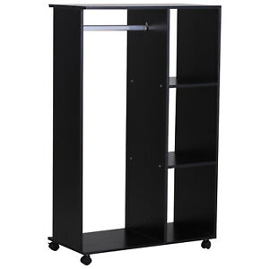 Compact Open Wardrobe Closet Portable Clothing Storage Hanging Rod Shelves Black