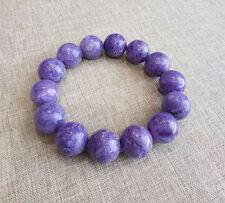 Genuine Natural Purple Charoite Crystal Round Beads Bracelet 16mm AAAA
