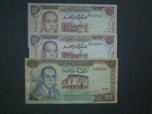 **3 Decent  Morrocco 100/10  Dirhams 1970/85 'NVF/VF'+  Banknote