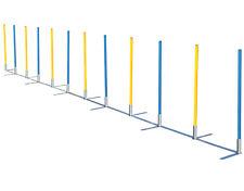 Turnier Slalom mit 12 Stangen für Agilitytraining gelb/blau Hundesport