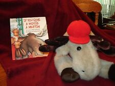 "Chosun Bean Plush Floppy Moose W/ Red Hat & Red Plaid Scarf 16""& Moose Book"