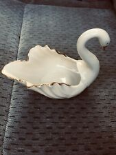 Small Lenox Porcelain Swan Ivory & Gold Trim Trinket
