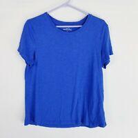Eddie bauer xl short sleeve classic cotton blend t shirt top scoop neck blue