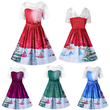 Women's Santa Christmas Lace Dresses Rockabilly Xmas Retro Swing Dress XL-5XL