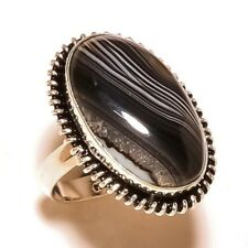 Black Banded Agate Gemstone silver plated Handmade Statement Bezel Ring US-7.75