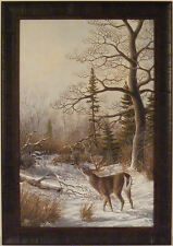 MIXED SCENTS by Mike Turner 24x34 FRAMED PRINT Whitetail Deer Buck Doe Woods