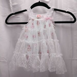 Mini Me Mesh Dot Tiered Dress Size 6mo White Cupcake Print