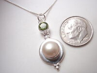 Cultured Pearl and Faceted Peridot 925 Sterling Silver Pendant Corona Sun