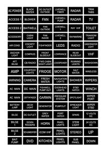96 Black / White Boat Marine Electric Dash Panel Switch Label Sticker Decal Pack