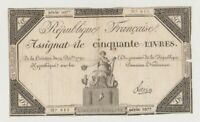 FRANCE REVOLUTION ASSIGNAT  PA 72 50  LIVRES UNIFACE SIGN LIEVIN  CIRC