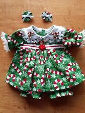 "New Listing16"" Cabbage Patch Outfit - Christmas Candy Canes and Snowflakes on Green Dress"