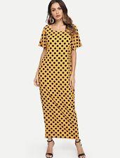 fb8b537d782244 abito vestito lungo donna ragazza estivo Taglia XS-S-M-L Pois Giallo